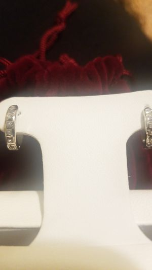 Small 14kt white gold and diamond earrings for Sale in Bakersfield, CA