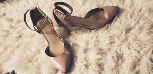 Pair of cream ankle strap leather heels for Sale in Baltimore, MD