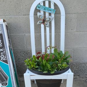 I Purchased This A Few Months Back. Love It!! Just Don't Have Space For It. A Chair With A Pot Filled With Succulents $25 for Sale in Gardena, CA