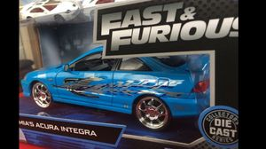 Acura integra fast and the furious scale 1:24 jdm metal die cast collectible toy car $30 trade hot wheels Honda Nissan Datsun civic crx integra gtr for Sale in Colton, CA