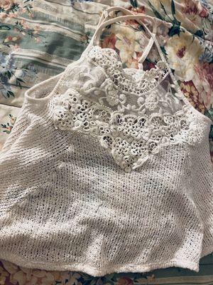 White halter tank top, lace rimmed neckline - XS for Sale in Fairfax, VA