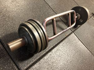 Olympic Triceps Bar & Weights for Sale in Santa Clarita, CA