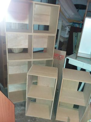 6 seperate Wood shelves with 2 cubes can be stacked all different ways $10 each buy one or 2 or all of them each cube is 28 inches tall x 15 x 11 for Sale in Missouri City, TX
