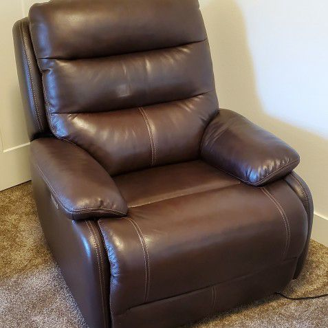 Electric Rocker/Recliner Dark Brown Genuine Leather