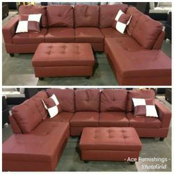 Brand New Red Leather Sectional With Storage Ottoman for Sale in Graham,  WA