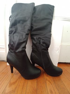 Sexy black leather thigh high heeled boot for Sale in The Bronx, NY