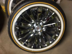 "18"" 245 40R 18 Cadillac chrome rims & Vogue tires will fit 2014 and newer acts only for Sale in North Randall, OH"