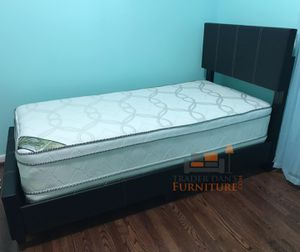 Brand New Twin Size Leather Platform Bed Frame + Pillowtop Mattress for Sale in Kensington, MD
