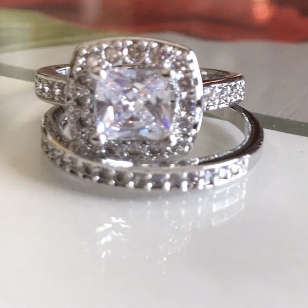 Sterling silver white Sapphire Engagement/Wedding Ring