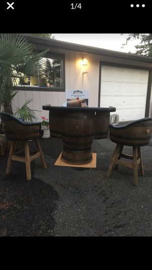 Whiskey barrel patio furniture set barstools and bar for Sale in Federal Way, WA