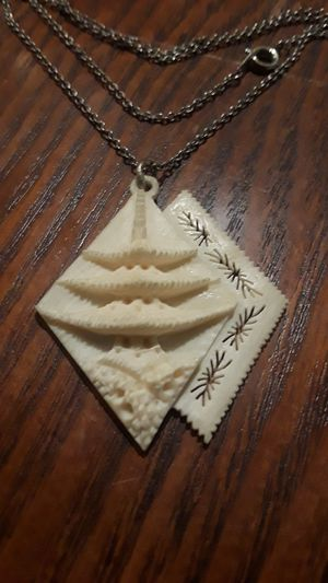 Gorgeous vintage Sterling Silver 925 carved bone pendant with necklace . for Sale in New York, NY