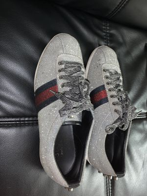 Gucci Bambi Men's Silver Glitter Web With Stud Lace Up Sneaker Size 8.5 Men's for Sale in Lombard, IL