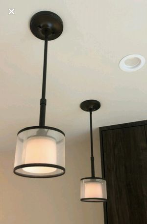 Lk NEW Beautiful PAIR = 2 Lux Modern Bronze Drum Ceiling Pendant Kitchen Island Light Spotlight + Sheer Drum + Black Trim Zgallerie Pottery Barn RH for Sale in Monterey Park, CA