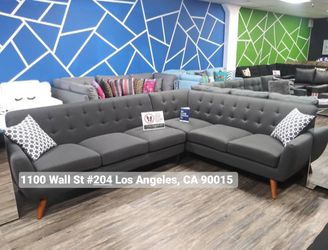 REAL SHOWROOM 😁 WE FINANCE - ASH BLACK MID CENTURY STYLE COUCH SOFA SECTIONAL COUCHES for Sale in Los Angeles,  CA