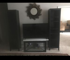 Two tall pillar bookshelves + tv Stand for Sale in Germantown, MD