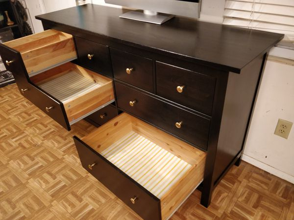 """Nice black wooden big dresser with 8 deep drawers in good condition, all drawers working well, pet free smoke free. L64""""*W20""""*H38"""""""