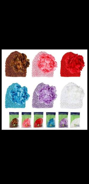 Baby girl Flower clip beanies for Sale in San Antonio, TX