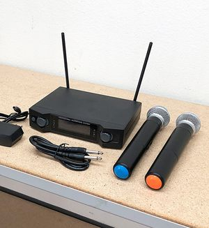 (NEW) $45 Audio 2 Channel Receiver UHF w/ 2 Handheld 100m Wireless Microphone LCD Display for Sale in Pico Rivera, CA