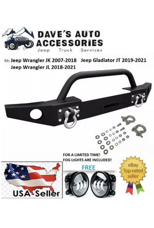 For 07-21 Jeep Wrangler JK JL JT Full Width Black Front Bumper With Winch Plate for Sale in Los Angeles, CA