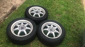 3 set tires with rims 16/7 wear used two in a good condition one with a bent just for 175 $ for Sale in Houston, TX