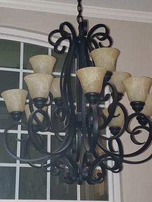 12 light wroght iron chandelier for Sale in HUNTINGTN BCH, CA