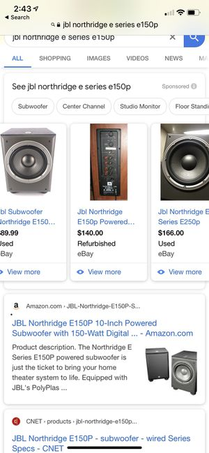 JBL Northridge E Series E150P Bass speaker for Sale in City of Industry, CA