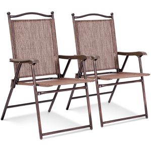 Set of 2 Patio Folding Sling Back Chairs Camping Deck Garden Beach Brown OP3568-2CF for Sale in Tustin, CA