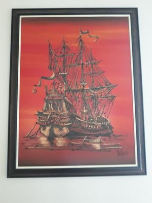 "Red sunset spanish sailboat, 35"" wide x 45""length,oil painting,excellent condition for Sale in Urbana, OH"