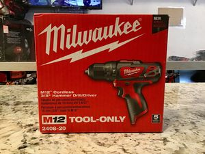 "Milwaukee M12 2408-20 0.375"" Cordless Hammer Drill/Driver 🔴⚫️ BRAND NEW SEALED!!! ⚫️🔴 for Sale in New York, NY"