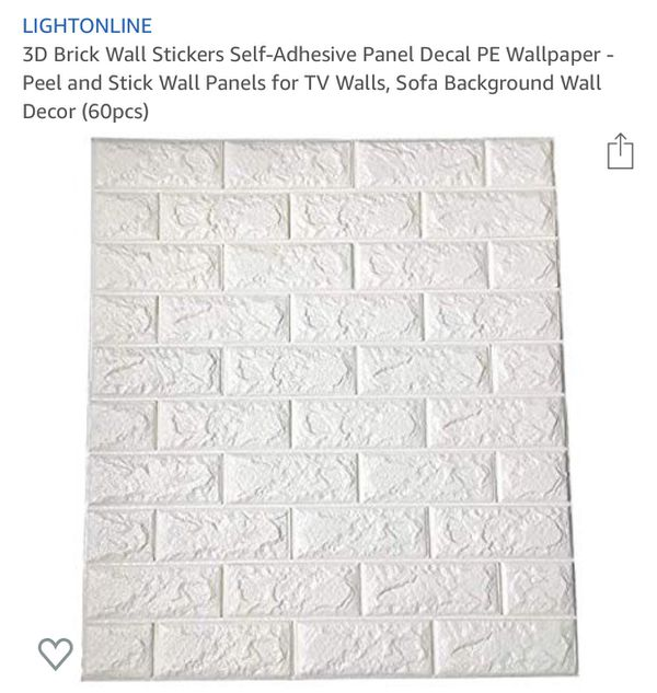 46 Pieces- 3D Brick Wall Stickers Self-Adhesive Panel Decal PE Wallpaper- Peel and Stick Wall Panels for TV Walls, Sofa Background Wall Decor
