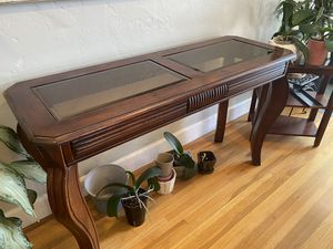 Cherry wood and glass Console table, coffee table and 2 end tables for Sale in San Diego, CA