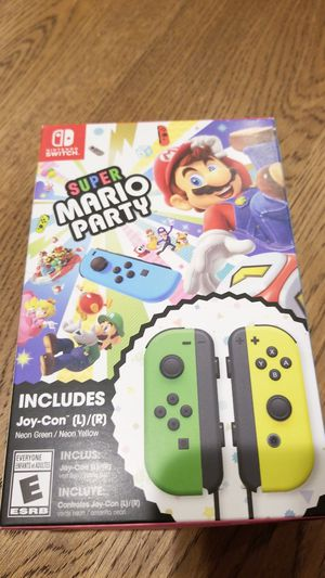 Brand New, sealed Super Mario Party game with neon green / neon yellow joy-con for Nintendo Switch (not the game console, just game and controllers) for Sale in Philadelphia, PA