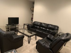 Faux leather sofa/ reclining chair, lounge chair, coffee and two end tables with glass top for Sale in Bethesda, MD