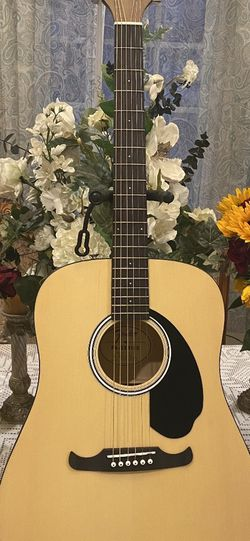 natural fender acoustic guitar with soft case for Sale in Bell Gardens,  CA