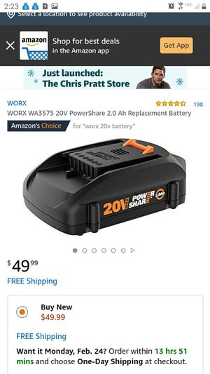 Worx 20v battery. Charger available too for Sale in Kirklyn, PA