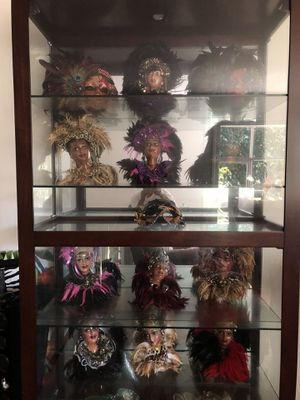 Doll mask collection with cherrywood glass cabinet for Sale in Upper Marlboro, MD