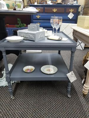 Unique vintage grey end table ot accent table with metal trim for Sale in Williamsport, PA