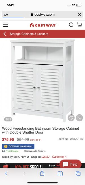 wood freestanding bathroom storage cabinet for Sale in Bakersfield, CA