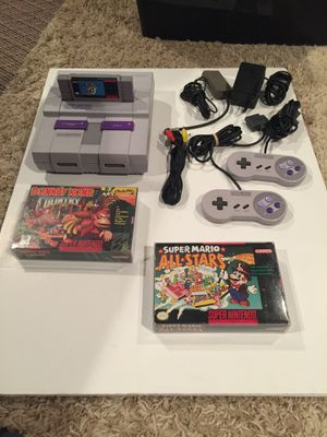 Super Nintendo with DK Country and Mario All-Stars CIB for Sale in Grove City, OH