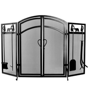 INNO STAGE 3-PANEL SOLID FIREPLACE SCREEN WITH 2 DOORS AND FIRE PLACE TOOLS SETS - And two decorative terracotta flower pots for Sale in Las Vegas, NV