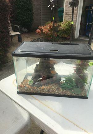 5 gallon fish tank with aquatic decorations for Sale in Fort Walton Beach, FL