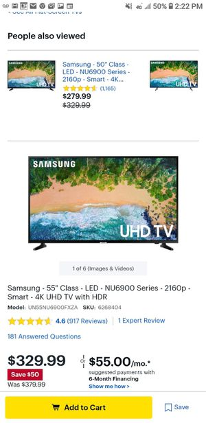 Samsung 55 inch 4k ultra uhd TV new in box never opened for Sale in San Diego, CA