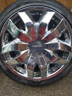 Set of 4used tires and wheels 5lugs size 20 fit Buick Chevrolet impala nissan for Sale in Nashville, TN