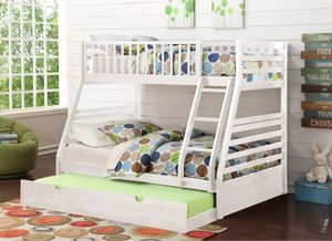 BRAND NEW TWIN SIZE OVER FULL SIZE BUNK BED + FREE TRUNDLE BED FRAME INCLUDED for Sale in Scituate, MA