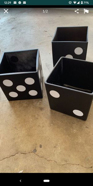 Square Black Vases- Total of 9. Sold together Size 6x6 -Great for Casino Theme for Sale in City of Industry, CA