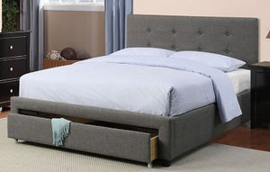 New Dark Grey Queen bed frame with storage drawer for Sale in Las Vegas, NV