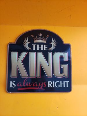 New metal sign THE KING IS ALWAYS RIGHT man cave decor for Sale in Hudson, OH