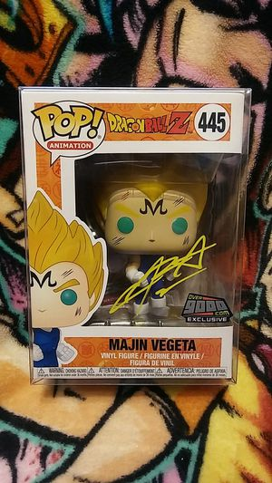 Funko Pop Dragon Ball Z Majin Vegeta Over 9000 Exclusive #445 Signed / Autographed by Voice Actor Chris Sabat with JSA Certification! for Sale in Cypress, CA