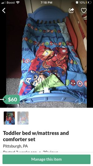 Toddler bed and complete reversible bedding, waterproof mattress included for Sale in Pittsburgh, PA