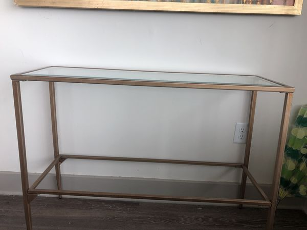Gold Glass Top Console Table